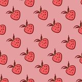 Seamless pattern with strawberries Stock Images