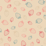 Seamless pattern with Strawberries, summer harvest background. A Stock Photos