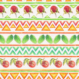 Seamless pattern with strawberries and tribal ornament. Colorful drawing of strawberries. Art of colored pencils Stock Images