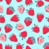 Seamless pattern with strawberries Royalty Free Stock Photos