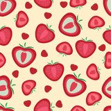 Seamless pattern. Strawberries whole and sliced stock image