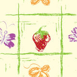 Seamless pattern with strawberry, butterfly and le Royalty Free Stock Photos