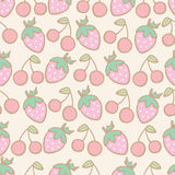 Seamless pattern of strawberry and cherry cartoon Royalty Free Stock Photos