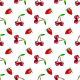 Seamless pattern strawberry and cherry. Polygon fruit. Vector Royalty Free Stock Photo