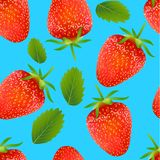 Seamless pattern with with strawberry and leaves Royalty Free Stock Photo