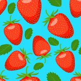 Seamless pattern with with strawberry and leaves Royalty Free Stock Photos