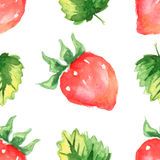 Seamless pattern with strawberry and leaves Stock Photography