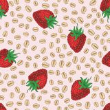 Seamless Pattern with Strawberry and Oat Flakes. Seamless Vector Pattern with Ripe Strawberry and Oat Flakeson on a Pink Background Stock Image
