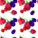 Seamless pattern with strawberry, raspberry, blackberry, cherry, berry with blots and stains on a white background. Watercolor art vector illustration