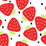 Seamless pattern with strawberry and seeds on a white background vector illustration