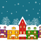 Seamless, pattern of  street with colorful houses in winter Royalty Free Stock Photo