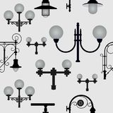 Seamless pattern from street lamps. Vector illustration Royalty Free Stock Photography