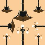 Seamless pattern from street lamps. Vector illustration Stock Images