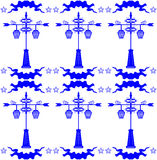 Seamless pattern with streetlight in Dutch tile style blue Stock Image