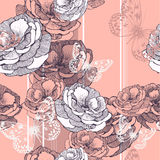 Seamless pattern with striped background, roses an vector illustration