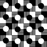 Seamless pattern. Striped, black, white squares and black and white circles. Black and white circles located on the black, the white squares and the squares in Royalty Free Stock Photo