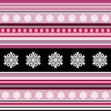 Seamless pattern - striped with floral motif in pink. And black colors Stock Photo