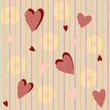 Seamless pattern with striped hearts Royalty Free Stock Image