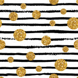 Seamless pattern with stripes and golden dots. Royalty Free Stock Photos