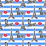 Seamless pattern stripes on Paris. Illustration black ink Eiffel Tower. Vector isolated on white background. Seamless pattern stripes on Paris. Illustration Royalty Free Stock Image
