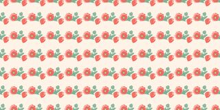 Seamless pattern from stripes of poppies with open and closed buds without stems on a cream background. Vector stock illustration
