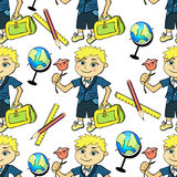 Seamless pattern with a student of the first class boy and globe. Vector illustration Stock Photo