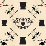 Seamless pattern in the style of Alice in Wonderland. Vector background with the Cheshire cat. Flamingos and playing cards Royalty Free Stock Photography