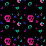 Seamless pattern in the style of emo skull. Royalty Free Stock Photos