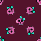 Seamless pattern in the style of emo skull Stock Photos