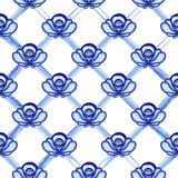Seamless pattern in style Gzhel. A lattice from blue watercolor lines with flowers. Stylization. Vector illustration Royalty Free Stock Photography