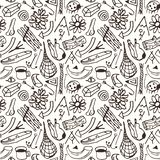 Seamless pattern in the style of hand-drawn graphics Royalty Free Stock Images