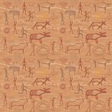 Seamless pattern in the style of rock painting Royalty Free Stock Images