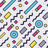 Seamless pattern in 90 80 style. With simple geometric elements shapes Royalty Free Stock Photography