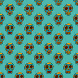 Seamless pattern style skulls faces vector illustration halloween horror style tattoo anatomy art. Royalty Free Stock Photography