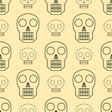 Seamless pattern style skulls faces vector illustration halloween horror style tattoo anatomy art. Stock Photo