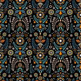 Floral ornament. Decorative Pattern. Stylization. A seamless pattern in the style of the Slavic people`s vegetable motifs. Decorative background or cover Stock Image