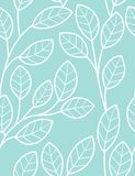 Seamless pattern with styled leaves. White leaves on turquoise background Royalty Free Stock Photo