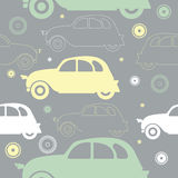 Seamless pattern with stylish colorful cars and decorative objec Stock Photography