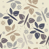 Seamless pattern with stylish flowers and butterflies Royalty Free Stock Photography