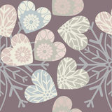 Seamless pattern with stylish hearts and snowflake Stock Image