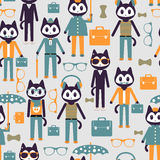 Seamless pattern with stylish kitties Royalty Free Stock Photos