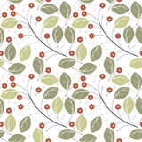 Seamless pattern with stylish red flowers and green leaves isola. Ted on white background can be used for design fabric, tile, linen, kids clothes, surface Stock Photo