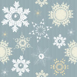 Seamless pattern with stylish snowflakes. Holiday Seamless pattern with stylish snowflakes.  Trendy seamless wallpaper for New Year and Christmas Vector Stock Photo