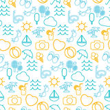 Seamless pattern  in stylish  of traveling, tourism and va Royalty Free Stock Photo