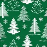 Seamless pattern of stylization firs on green Stock Photos