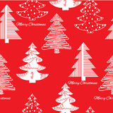 Seamless pattern of stylization firs on red Royalty Free Stock Images