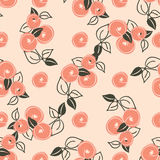 Seamless pattern with stylization peach. Seamless pattern with stylization branches of peach. Vector illustration for textile - pillow, t-shirts, towels Stock Photo