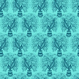 Seamless pattern with stylize drawing of tulips Stock Photos
