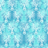 Seamless pattern with stylize drawing of tulips in a pot. Stock Images