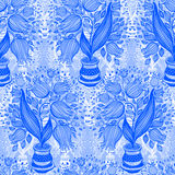 Seamless pattern with stylize drawing of tulips in a pot. Stock Photo